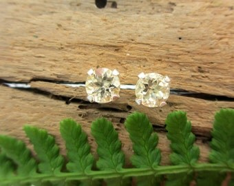 Scapolite Studs - Genuine Scapolite Stud Earrings, Real 14k Gold, Platinum, or Sterling Silver - 5mm