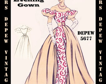 Vintage Sewing Pattern 1950's Evening Ball Gown in Any Size - PLUS Size Included - Depew 5677 -INSTANT DOWNLOAD-
