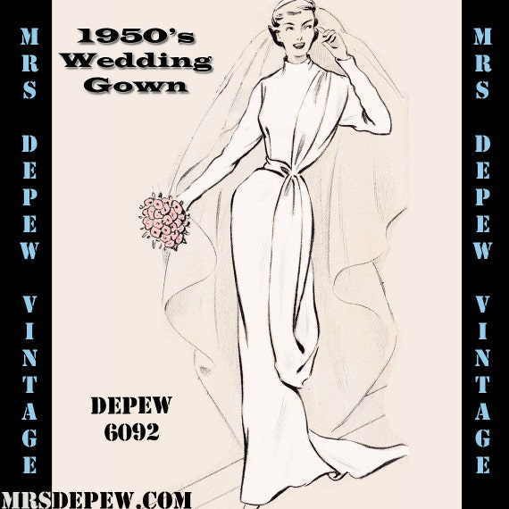 Vintage Sewing Pattern 1950's Sheath Wedding Gown in Any Size - PLUS ...