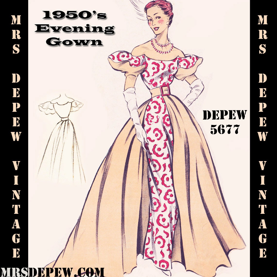 Vintage sewing pattern 1950s evening ball gown in any size for Plus size wedding dress sewing patterns