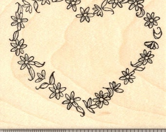 Floral Heart Rubber Stamp, Garland of Flowers  K20307 Wood Mounted