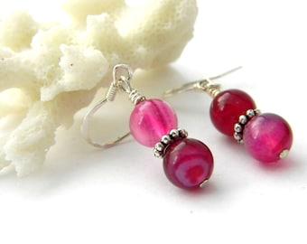 Pink Agate Stone Earrings