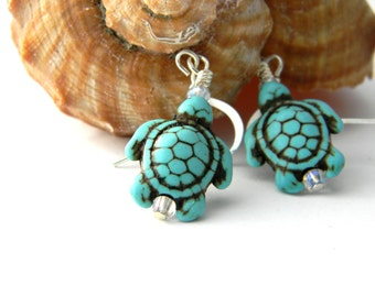 Turquoise Turtle Earrings Imitation Turquoise Dangle Earrings