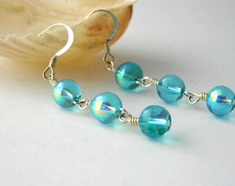 Light Blue Glass Drop Earrings