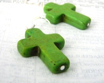 Green Stone Cross Earrings