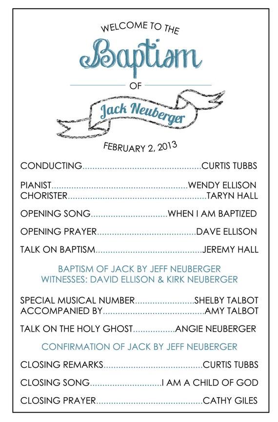 Printable Baptism Program Lds Girl Boy By Brendaneuberger