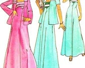 1970s Dress Pattern Simplicity 7269 Maxi Dress Jacket Day Evening Dress Sundress Womens Vintage Sewing Pattern Bust 34 Uncut