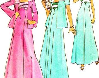 1970s Dress Pattern Simplicity 7269 Maxi Dress Jacket Day Evening Dress Sundress Womens Vintage Sewing Pattern Bust 31 1/2