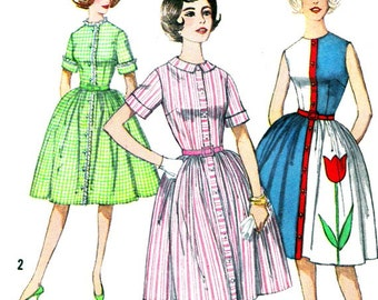1960s Dress Pattern Simplicity 4326 Womens Rockabilly Front Button Dress Full Skirt Shirtdress Vintage Sewing Pattern Junior Teen Bust 32