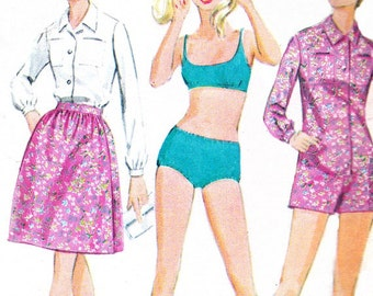 Womens Two Piece Swimsuit Romper Wrap Skirt Blouse 1960s Vintage Sewing Pattern McCalls 9315 Bust 34