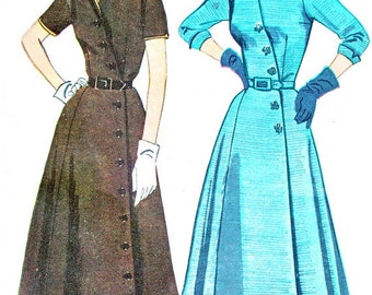 1950s Dress Pattern Simplicity 4087 Fit and Flare Surplice Bodice Day Evening Dress Side Button Shirtdress Vintage Sewing Pattern Bust 32