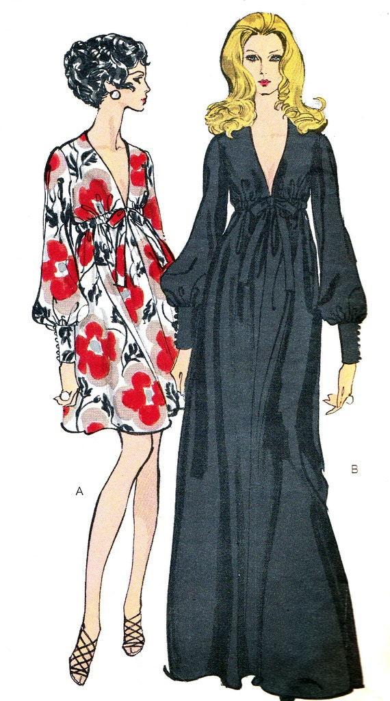 1970s Evening Gown Pattern Vogue 7630 Empire Waist Evening Or