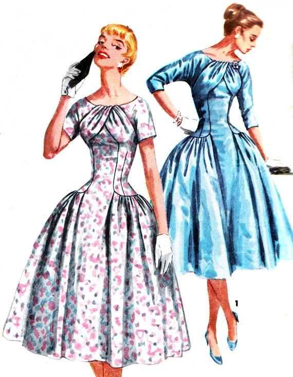 1950s Dress Pattern Simplicity 1537 Dropped Waist Evening