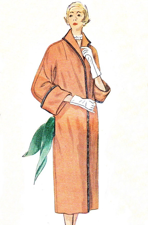 1950s Womens Coat Pattern Simplicity 3448 Long Reversible Kimono Sleeve Coat Womens Vintage Sewing Pattern Bust 32 Uncut