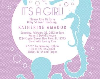 COLOR OPTIONS - Lavender Girl or Boy Sea Theme Baby Shower Invitation - Digital File - Custom  - Item 111B
