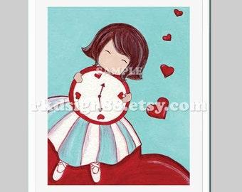 Girls wall art for nursery decor Lovely Hearts children decor girls art prints red tutu nursery art - I love this moment - 8x10 print