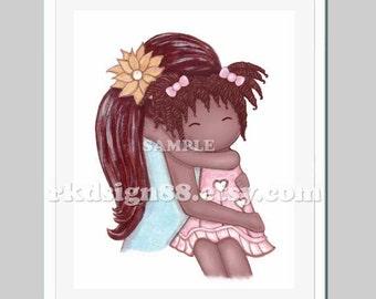 My Sunshine nursery art print, baby girl nursery decor, kids wall art, girl print, girl room art, mother daughter African art 8x0