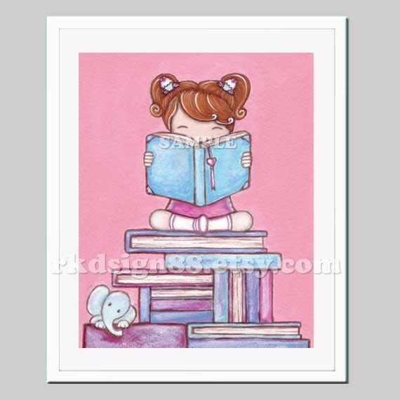 Book Cover Nursery Art : Items similar to girls wall art painting kids room decor