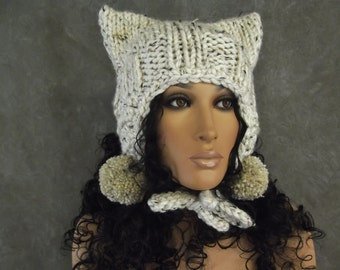 Knit Beige Tweed Kitty Kat Hat with Crochet Trim and Beige Tweed pompoms/Elfin Hat Ready to Ship