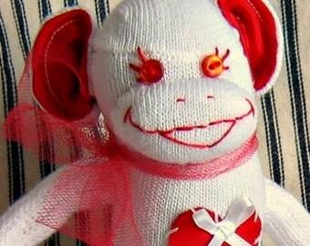 Sock Monkey Doll Valencia, the Valentine Sock Monkey Doll