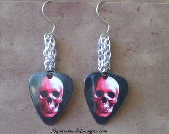 Red Skull Guitar Pick Dangle Earrings