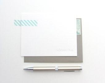 Letterpress - Blind Impression Stationery Set (twentieth century  font) - 100 Qty