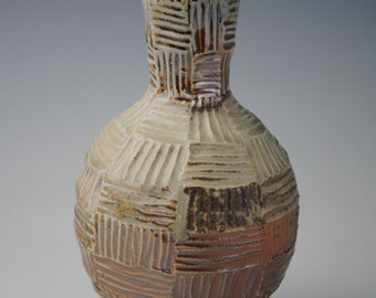 Wheel Thrown Vase,  Wood Fired with Carved Design