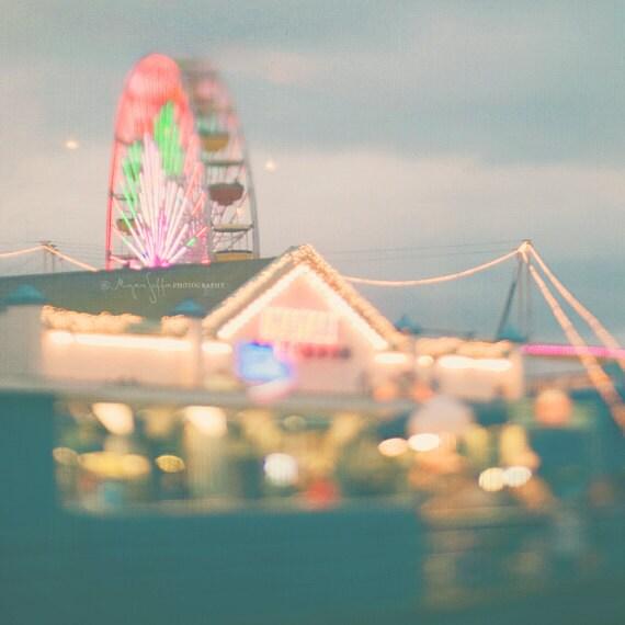 photography, beach pier ferris wheel photo night photography carnival Santa Monica abstract rainbow bokeh kids room decor LA art print