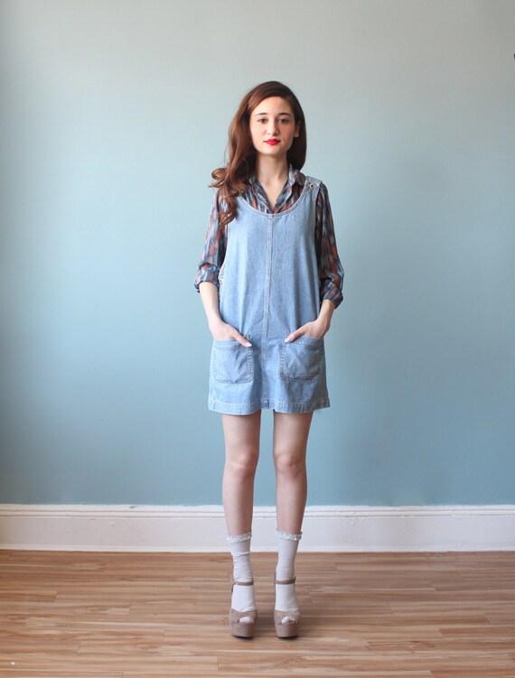 Denim jumper dress / 90s denim mini dress xs-s