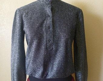 vintage metallic black top. Lame long sleeve top