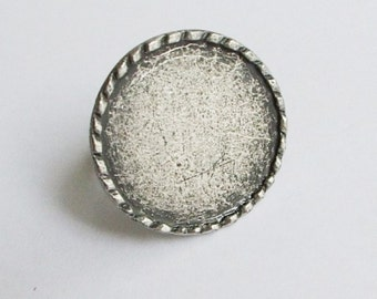 Bezel Silver Plated Zamac Ring BAse-1
