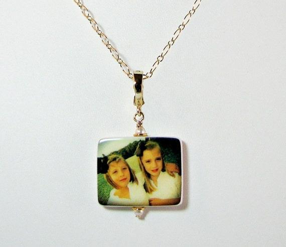 Photo Pendant on Gold Filled Chain - Handmade Photo Jewelry - Medium P2fNGf