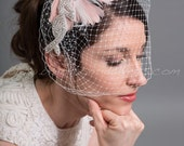 Bridal Veil Set, Wedge Birdcage Veil with Feather Fascinator CaTina
