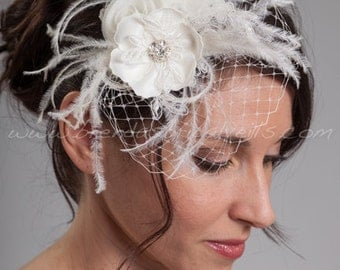 Ivory Bridal Hairpiece, Flowers and Lace with Netting Accent - Heather