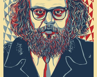 Allen Ginsberg - Beat Generation Poet, Buddhist, Pot Head -  A Poster by Atelier Bagatelle