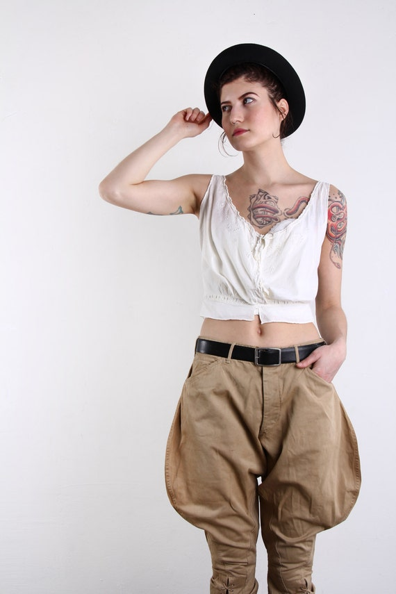 antique cream cotton top tank