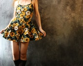 Vintage 1980s Too Cute Sunflower Dress Playsuit Culottes - MajikHorse