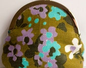 Purple and teal vintage floral coin purse