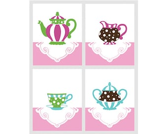 Girl Nursery Art, Tea Cup decor, girls room Tea Party prints by nevedobson - available in different sizes and colors
