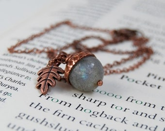 Labradorite and Copper Acorn Necklace | Gemstone Acorn Necklace | Labradorite Gemstone Necklace | Fall Copper Acorn Charm Necklace