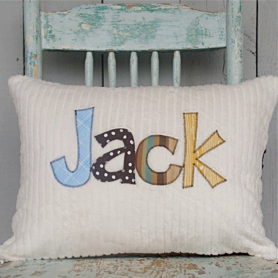 A Monogrammed Pillow for the Home and Nursery in MOUNTAIN, Personalized with Your Baby or Toddler Boy's First Name in Primary