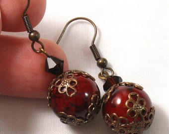 Red & Black Marbelized Filigree Earrings by Annie O
