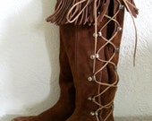 RESERVED ~ Hard Sole Vintage Moccasin Boots // Lace-up Boots // Southwest Style Boots // Boho // Women's 5.5 or 6
