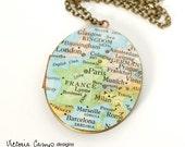 Europe Map Locket Necklace, Vintage Map, Large Oval Vintage Locket, World Traveler Gift, Paris, London, Milan
