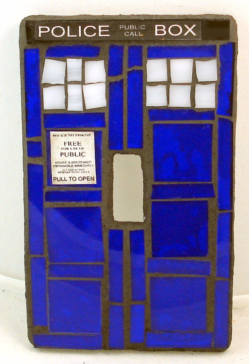 Doctor who tardis mosaic light switch plate cover for Tardis light switch cover
