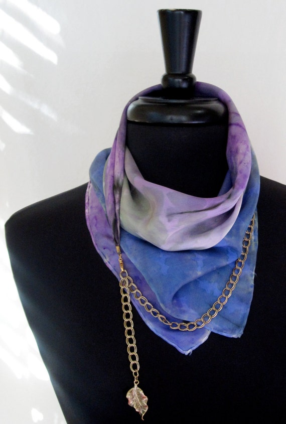 One of a Kind Royal Blue and Purple Scarflette - Ready to Ship