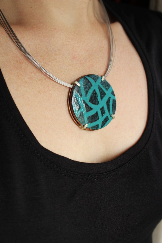 Enameled Drawnwork Necklace with Turquoise and Black Enamels, Sterling silver and copper, Round Circle Pendant, Large.