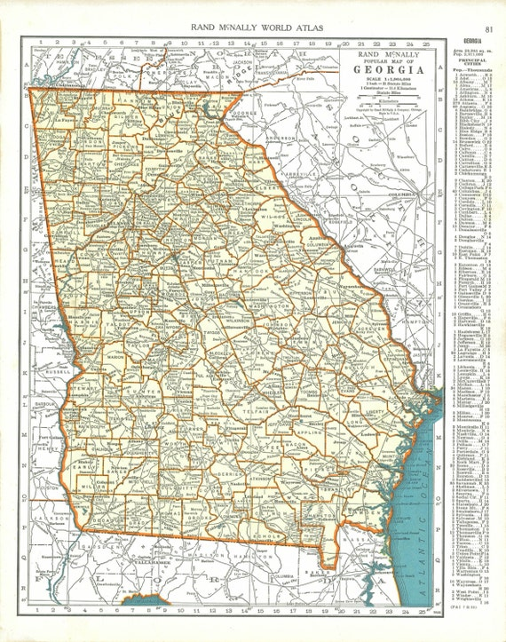 Vintage Georgia Map 1930s Vintage Map Of Georgia