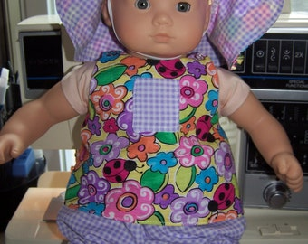 Summer sun outfit with hat fits dolls like bitty