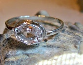 Natural petalite halo engagement/statement/stacking ring 1.25 ct.bezel set sterling silver with hammered 2 mm. shank/band